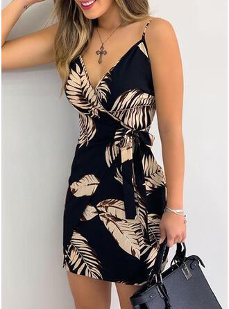 Print/Floral Sleeveless Sheath Above Knee Sexy Wrap/Slip Dresses