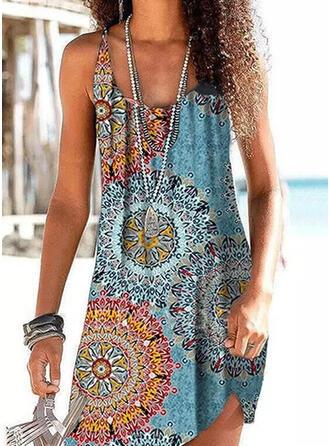 Print Splice color Strap U-Neck Vintage Boho Cover-ups Swimsuits