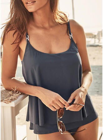 Solid Color Strap U-Neck Plus Size Casual Tankinis Swimsuits