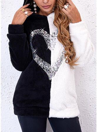 Print Color Block Heart Sequins Hooded Long Sleeves Hoodie