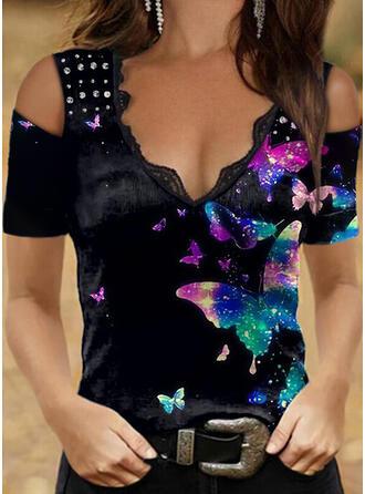 Animal Print Lace Sequins Cold Shoulder Short Sleeves Elegant Blouses