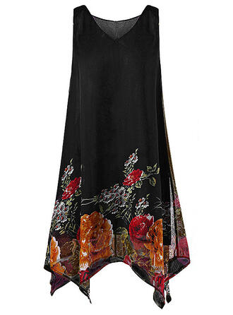Plus Size Floral Print Sleeveless Shift Knee Length Casual Elegant Dress