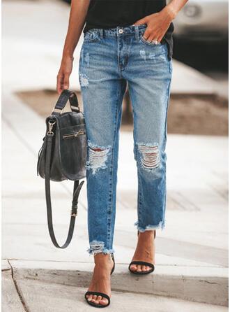 Shirred Plus Size Ripped Elegant Plain Denim & Jeans