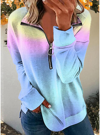 Print Gradient Lapel Long Sleeves Sweatshirt