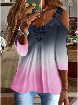 Gradient Lace Cold Shoulder 3/4 Sleeves T-shirts