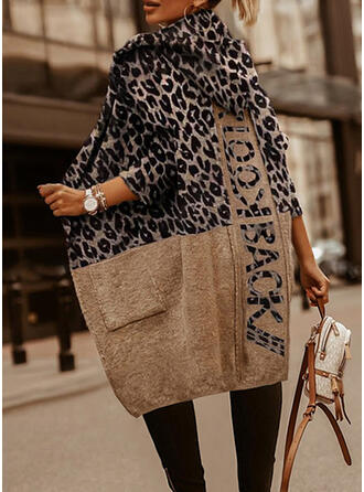 Print Leopard Letter Hooded Casual Sweaters