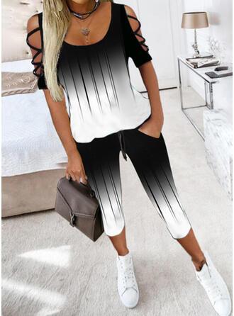 Color Block Casual Plus Size Blouse & Two-Piece Outfits Set
