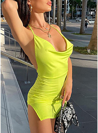 Solid Sleeveless Bodycon Above Knee Sexy/Casual Slip Dresses