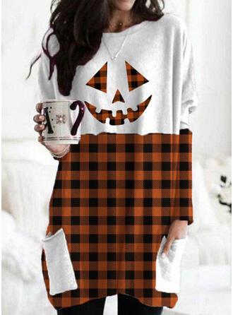 Halloween Plaid Round Neck Long Sleeves Sweatshirt
