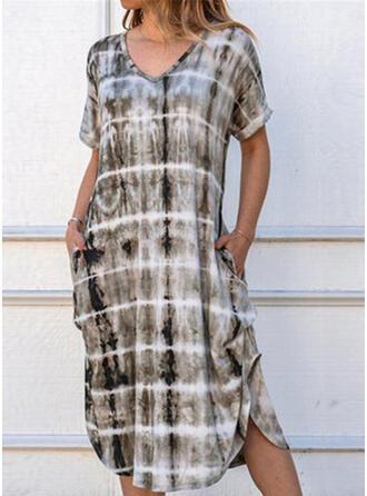 Tie Dye Short Sleeves Shift T-shirt Casual Midi Dresses