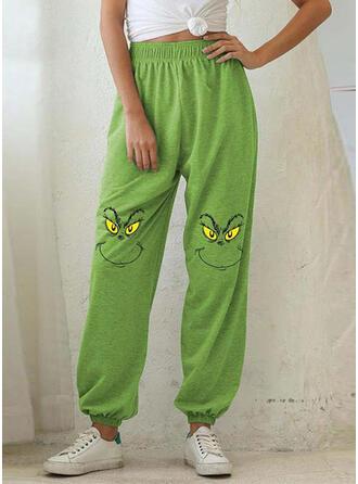 Print Shirred Plus Size Christmas Casual Sporty Pants