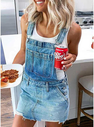 Solid Sleeveless Shift Above Knee Casual/Vacation/Denim Dresses
