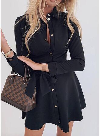 Solid Long Sleeves A-line Above Knee Little Black/Casual/Elegant Shirt/Skater Dresses