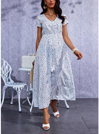 PolkaDot Short Sleeves A-line Skater Casual Maxi Dresses