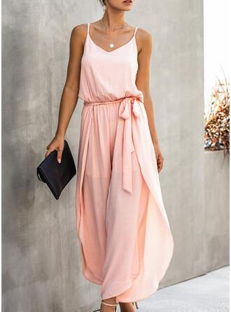 Solid Strap Sleeveless Elegant Jumpsuit