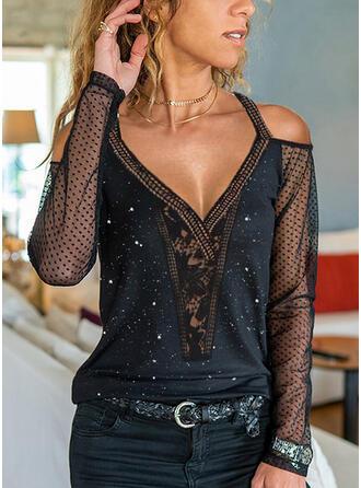 Solid Lace Cold Shoulder Long Sleeves Elegant Blouses