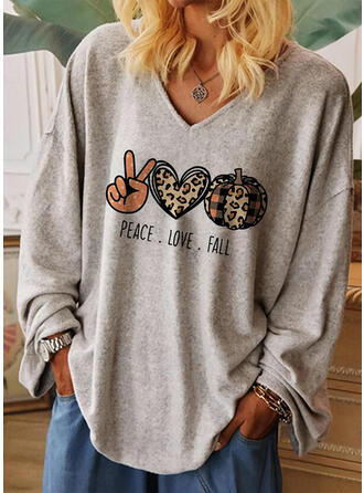 Halloween Leopard Heart Print Letter V-Neck Long Sleeves T-shirts
