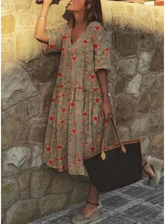 Print/Floral Short Sleeves Shift Tunic Casual/Vacation Midi Dresses