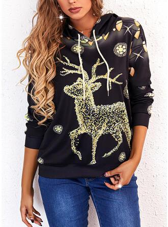Christmas Print Reindeer Long Sleeves Hoodie