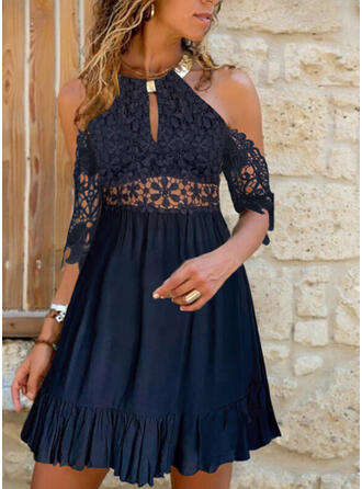 Lace/Solid/Hollow-out 1/2 Sleeves A-line Above Knee Elegant Skater Dresses