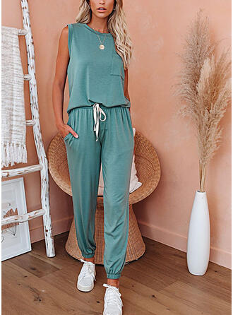 Solid Pockets Drawstring Casual Sporty Suits