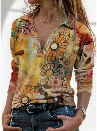 Floral Print Lapel Long Sleeves T-shirts