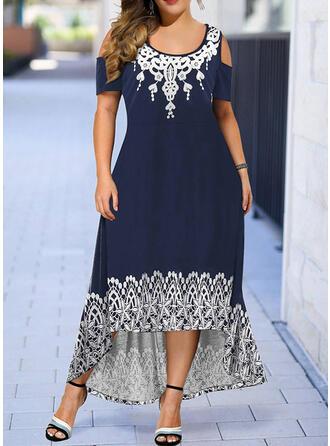 Plus Size Print Short Sleeves A-line Asymmetrical Casual Dress