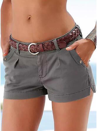 Solid Casual Plus Size Slit Pocket Shirred Pants Shorts