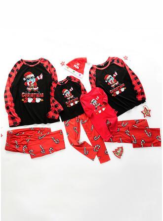 Santa Plaid Letter Family Matching Christmas Pajamas