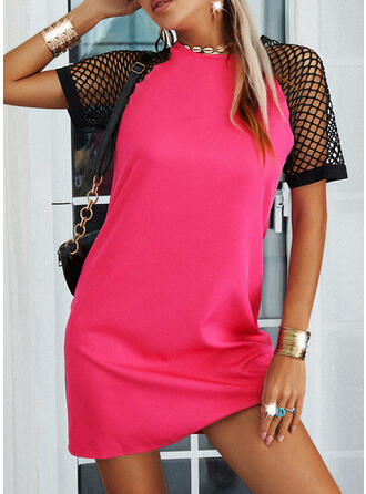 Solid/Mesh Short Sleeves Shift Above Knee Casual Tunic Dresses