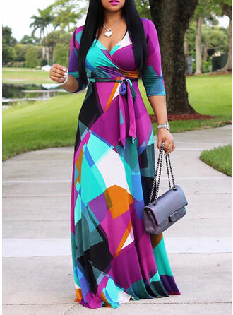 Plus Size Print 3/4 Sleeves A-line Maxi Casual Dress