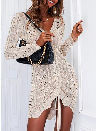 Solid Long Sleeves Shift Above Knee Elegant Sweater Dresses