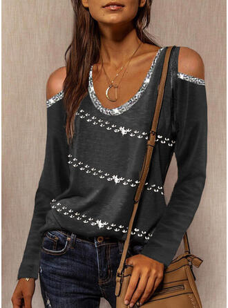 Solid Sequins Cold Shoulder Long Sleeves Casual Blouses