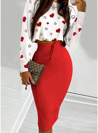 Heart Print Casual Blouse & Two-Piece Outfits Set