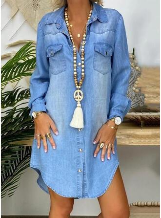 Solid Long Sleeves Shift Knee Length Casual/Denim Shirt Dresses