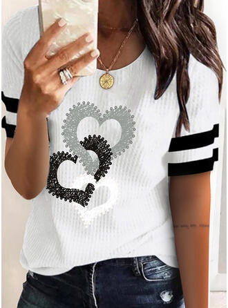 Heart Print Striped Round Neck Short Sleeves T-shirts