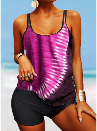 Strap U-Neck Vintage Plus Size Boho Tankinis Swimsuits