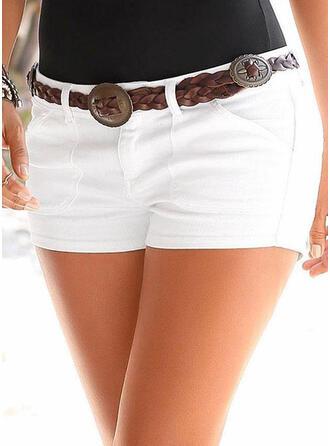 Solid Above Knee Casual Pocket Shirred Pants Shorts Denim & Jeans