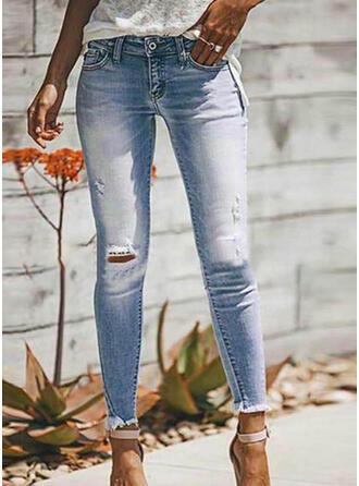 Pockets Shirred Plus Size Ripped Sexy Plain Denim & Jeans