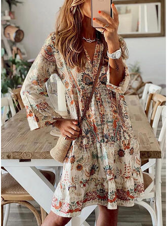 Print/Floral Long Sleeves/Flare Sleeves Shift Above Knee Casual/Vacation Tunic Dresses
