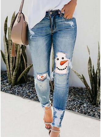 Print Imitation Jean Long Casual Vacation Plus Size Pocket Ripped Pants Denim & Jeans
