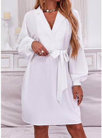 Solid Long Sleeves Lantern Sleeve A-line Above Knee Casual Wrap/Skater Dresses