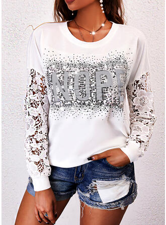 Print Letter Lace Sequins Round Neck Long Sleeves Sweatshirt