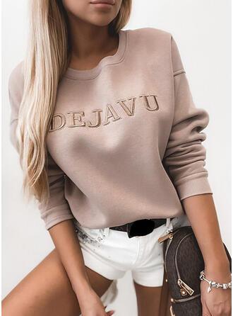 Letter Round Neck Long Sleeves Sweatshirt