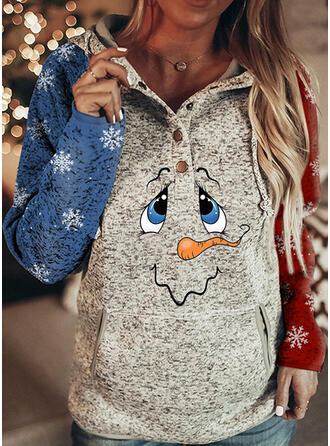 Christmas Print Hooded Long Sleeves Christmas Sweatshirt
