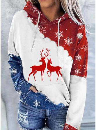 Christmas Print Color Block Deer Hooded Long Sleeves Hoodie
