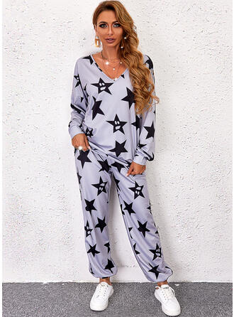 Print Star Long Casual Pants