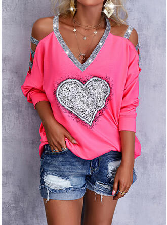 Print Heart Sequins Cold Shoulder Long Sleeves Sweatshirt