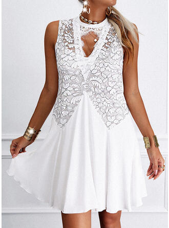 Lace/Solid Sleeveless Shift Above Knee Elegant Dresses