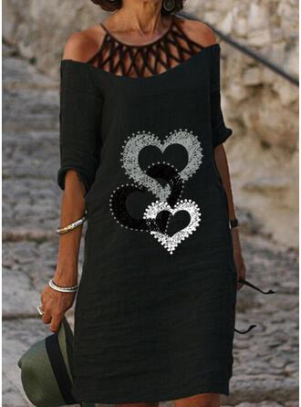 Print/Heart 1/2 Sleeves Shift Knee Length Casual Tunic Dresses
